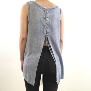Umgee Blue Soft Chambre Open Lace Up Back Tank Top